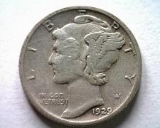 Buy 1929-S MERCURY DIME VERY FINE VF NICE ORIGINAL COIN FROM BOBS COINS FAST SHIP