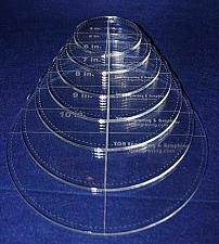 "Buy Circle Template with Seam Allowance 7 Piece Set. 4"",5"",6"",7"",8"",9"",10"" - Clear 1"