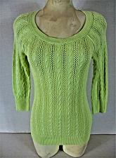 Buy AMERICAN EAGLE OUTFITTERS womens Medium neon green CABLE KNIT sweater (B8)