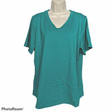 Buy Denim & Co Womens Perfect Jersey Top Size XL Teal V Neck Short Sleeve