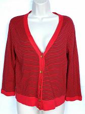 Buy J Crew Women's Perfect Fit Cardigan Sweater Size Medium V Neck Striped Black Red