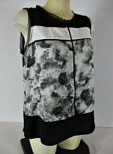 Buy VERA WANG womens Sz PL sleeveless black gray white HI LOW hem KEYHOLE top (A)