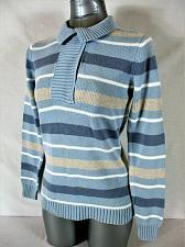 Buy LIZ CLAIBORNE womens Small L/S blue taupe white STRIPED 1/4 zip sweater (B2)P