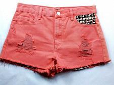 Buy Forever 21 Women's Booty Jean Shorts Size 26 Solid Orange Raw Hem Studded