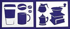 """Buy Coffee Themed 2 Piece Stencil Set 14 Mil 8"""" X 10"""" Painting /Crafts/ Templates"""
