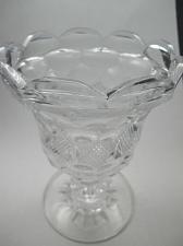 Buy Hand cut old glass pedestal vase honeycomb antique