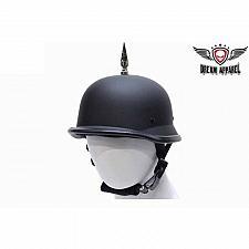 Buy German Novelty Black Flat Motorcycle Helmet Bike Biker With 1 Spike Harley New