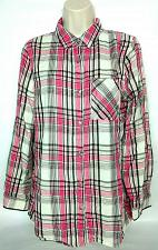 Buy CATO Womens Plaid Button Up Shirt Size Medium Pink White Long Sleeve