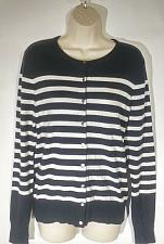 Buy Ann Taylor Women's Cardigan Sweater Medium Black White Striped