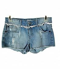 Buy NO BOUNDARIES womens Sz 7 W28 BLUE DENIM LIGHT WASH DISTRESSED LACE SHORTS (L)