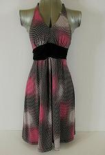 Buy MY MICHELLE womens Small Halter black pink white EMPIRE WAIST stretch dress (C4)