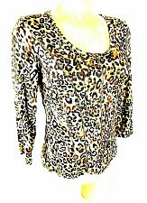 Buy Cristina womens Small black beige RAYON blend ANIMAL print stretch top (X)PMTD