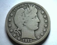 Buy 1912 BARBER QUARTER DOLLAR FINE / VERY FINE F/VF NICE ORIGINAL COIN BOBS COINS