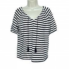 Buy J Crew Womens Peasant Top XXS Black White Striped Tasseled V Neck