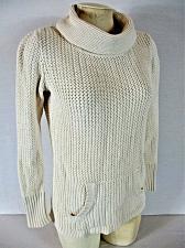 Buy OLD NAVY womens Small L/S ivory CROCHET KNIT 2 pocket turtleneck sweater (B7)
