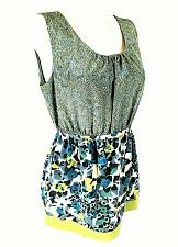 Buy Vera Wang womens Sz 8 green blue yellow floral TIE WAIST tunic top (C3)
