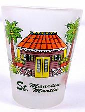 "Buy St Maarten Beach House Palm Trees Floral 2.25"" Frosted Collectible Shot Glass"