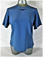 Buy TAN JAY womens Sz 10 S/S BLUE CRINKLE BUTTON KEYHOLE BACK TOP BLOUSE (A)P