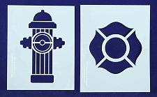 """Buy Fire Hydrant/Maltese Cross Stencils Mylar 2 Pieces of 14 Mil 8"""" X 10"""" - Painting"""