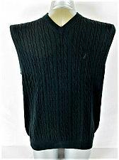 Buy NAUTICA mens Large BLACK COTTON V NECK SWEATER VEST (K)P