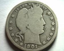 Buy 1901 BARBER QUARTER DOLLAR GOOD / VERY GOOD G/VG NICE ORIGINAL COIN BOBS COINS