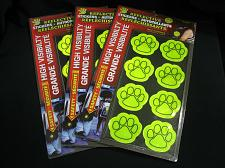 Buy LOT of 24 Reflective Paw Print Stickers NEW Safety Decals Junk Drawer Lot