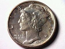 Buy 1943 MERCURY DIME UNCIRCULATED UNC. NICE COLOR NICE ORIGINAL COIN BOBS COINS