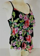 Buy JACLYN SMITH womens Sz 6 sleeveless black pink TANKINI ruffle STRETCH top (E)