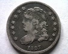 Buy 1837 7/7 LARGE 5 CENT BUST HALF DIME LM 1 VERY FINE VF NICE ORIGINAL COIN