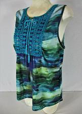 Buy WORLD UNITY womens Large sleeveless blue green CROCHET front stretch top (B7)
