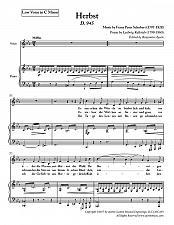 Buy Schubert - Herbst for for Low Voice in C Minor