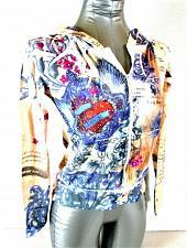 Buy VIXEN womens Medium juniors L/S blue red tan RHINESTONES zip HOODED jacket (B6)P