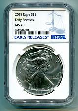 Buy 2018 AMERICAN SILVER EAGLE NGC MS70 NEW EARLY RELEASES BLUE LABEL, AS SHOWN, PQ