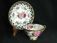 Buy Shafford Tea Cup and Saucer Lusterware Pierced ROSE Floral Footed Japan