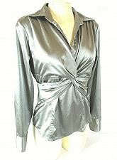Buy NEW YORK & CO womens Sz 6 L/S gray 2 button CROSSOVER front SIDE zip top (A)