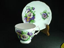 Buy Royal Vale Tea Cup and Saucer Set Purple Flowers numbered