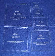 "Buy Square Templates. 1"", 2"", 3"", 4"", 5"", 6"" - w/seam Clear 1/8"""