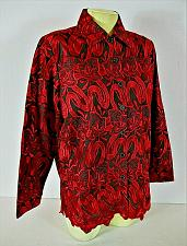 Buy DRAPERS & DAMONS womens Small L/S red black EMBROIDERED shirt jacket (C4)