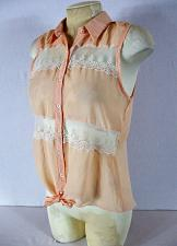 Buy DELIAS womens Medium orange WHITE LACE panels TIE front button up HI LOW top (J)