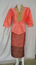 Buy Salmon Lao Laos Synthetic Silk 3/4 Sleeve Blouse size L sinh wedding ceremony