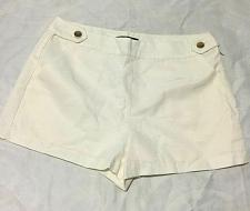 Buy Forever 21 Shorts Sz L Woven Mini Shorts Side Zip Cream Front two buttons NWT