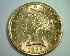 Buy 1899-S FIVE DOLLAR LIBERTY GOLD CHOICE ABOUT UNCIRCULATED CH. AU ORIGINAL COIN