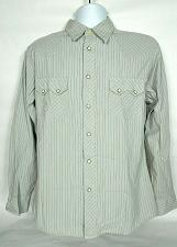 Buy Express Men's Western Pearl Snap Shirt Medium Gray Striped Long Sleeve