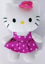 "Buy Hello Kitty Cat Pink Polka Dot Dress Plush Stuffed Animal 7"""