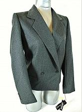Buy Harve Benard womens Sz 6P L/S gray WHITE PINSTRIPED lined WOOL jacket NWT (B4)