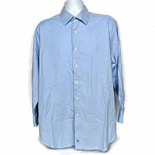 Buy David Donahue Mens Dress Shirt Size 17 32/33 Solid Blue Long Sleeve