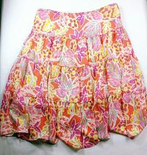 Buy Chaps Women's A Line Accordion Ruffle Skirt Size PL Multi-color Floral Pull On