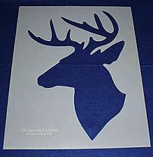 "Buy Buck-Deer Head Stencil S-Mylar 14 Mil 17.5""H X 14""W - Painting /Crafts/ Template"
