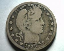 Buy 1915-D BARBER QUARTER DOLLAR VERY GOOD TONED VG NICE ORIGINAL COIN BOBS COINS