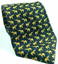 Buy Elephant Pachyderm Animal Blue Gold All Over Print Novelty Silk Tie